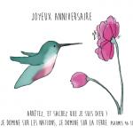 Anniversaire colibri - verset biblique