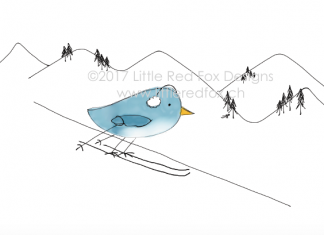 Skiing Bird
